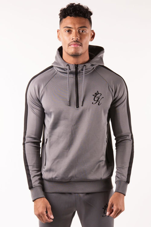 Gym King Poly 1/4 Zip Tracksuit Top Steel - Black