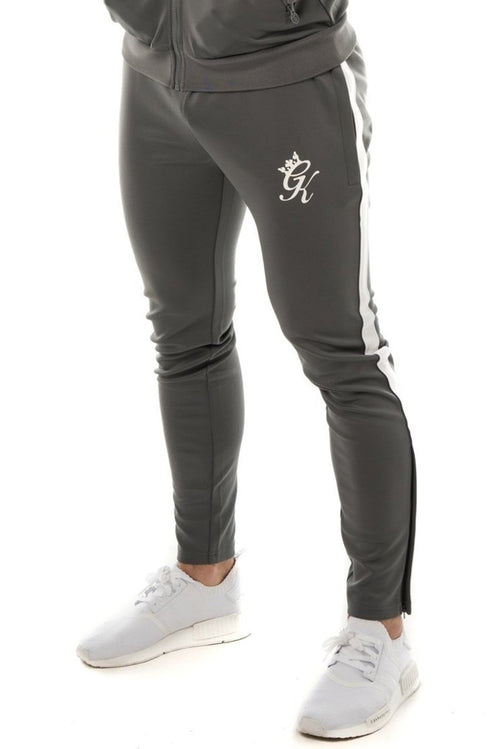 Gym King Poly Tracksuit Bottoms Dark Grey / White