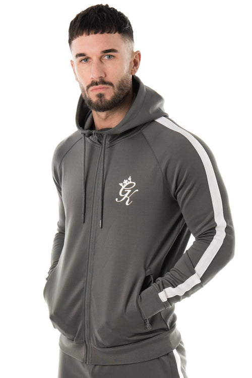 Gym King Poly Tracksuit Top Dark Grey / White