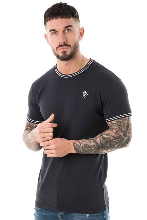 Gym King Signature Tipped T-Shirt Navy / White