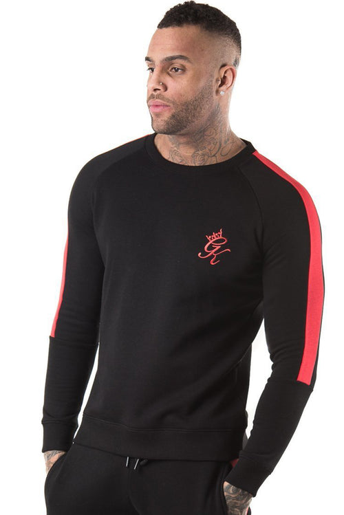 Gym King Stripe Panel Crew Sweatshirt Black / Red