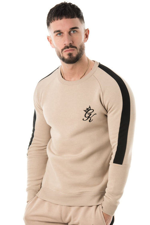 Gym King Stripe Panel Crew Sweatshirt Mocha / Black