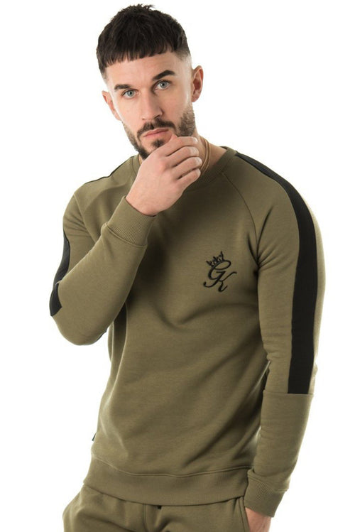 Gym King Stripe Panel Crew Sweatshirt Olive / Black