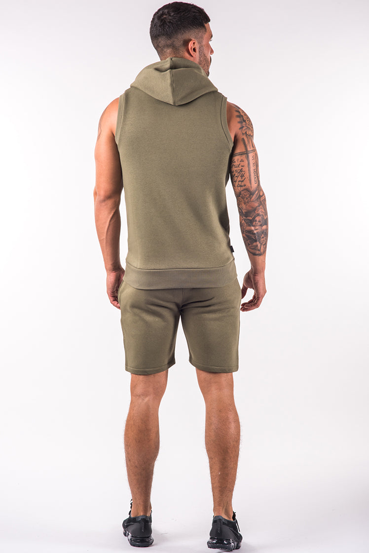 Gym King Zipped Sleeveless Hoodie Burnt Olive