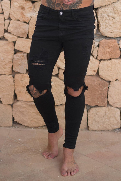 Sinners Attire Destroyed Jeans Black