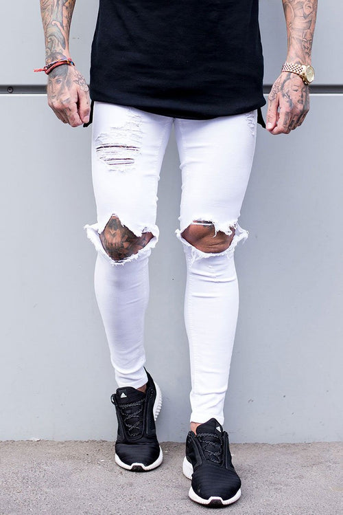 Sinners Attire Destroyed Jeans White