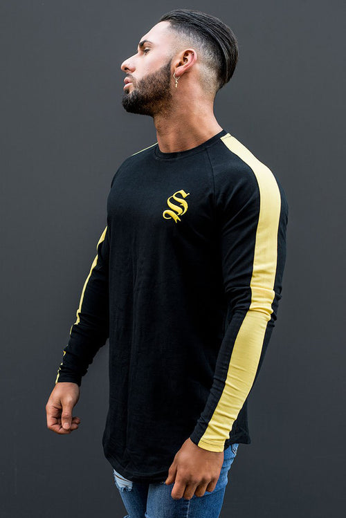 Sinners Attire Long Sleeve Stripe Core T-Shirt Black - Yellow