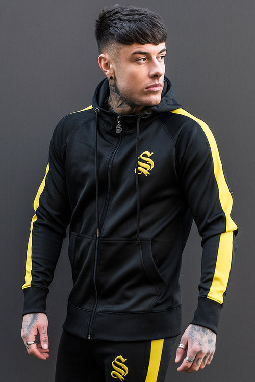 Sinners Attire Poly Tracksuit Hoodie Black / Yellow