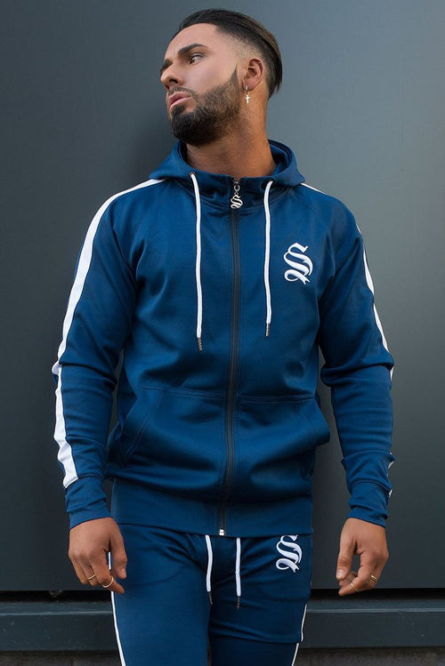 Sinners Attire Poly Tracksuit Hoodie Navy / White