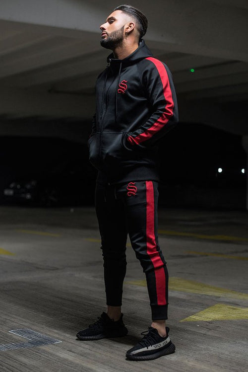 Sinners Attire Poly Tracksuit Joggers Black / Red
