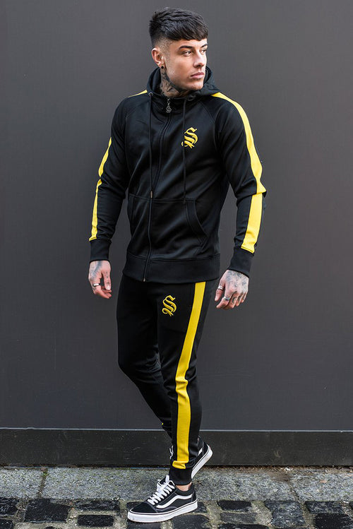 Sinners Attire Poly Tracksuit Joggers Black / Yellow