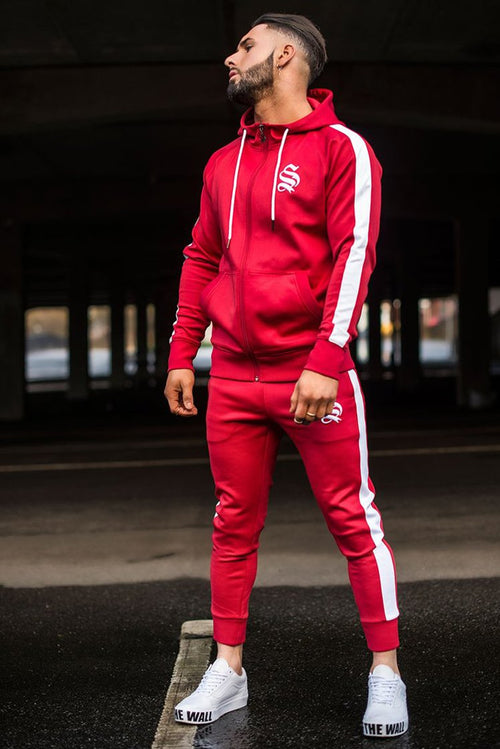 Sinners Attire Poly Tracksuit Joggers Red / White