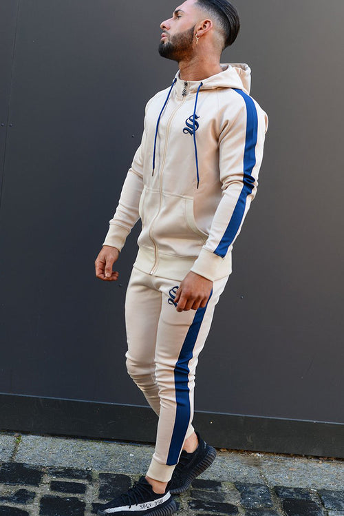 Sinners Attire Poly Tracksuit Joggers Sand / Navy