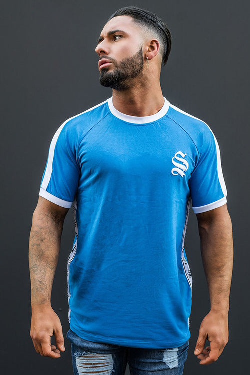 Sinners Attire Retro Ringer T-Shirt Blue