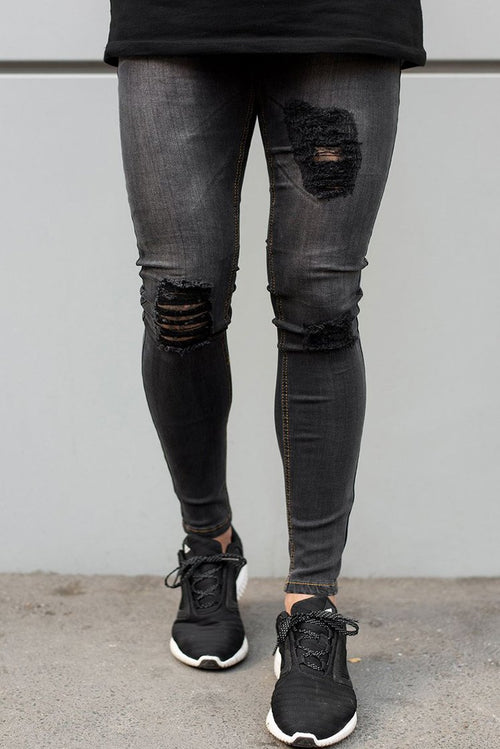 Sinners Attire Ripped & Repaired Jeans Grey