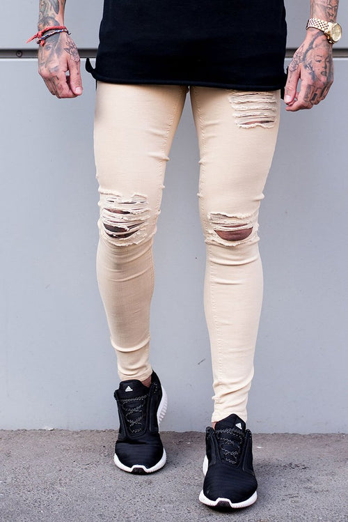 Sinners Attire Ripped & Repaired Jeans Sand