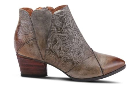 Melodie Carved Leather Bootie