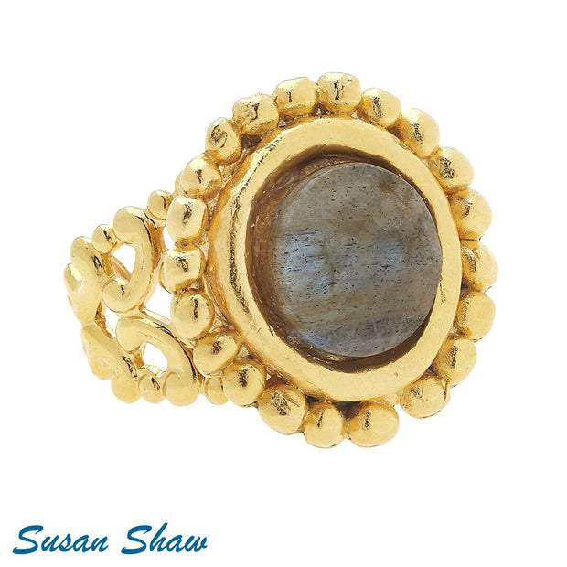 Gold Labradorite Ring 9299