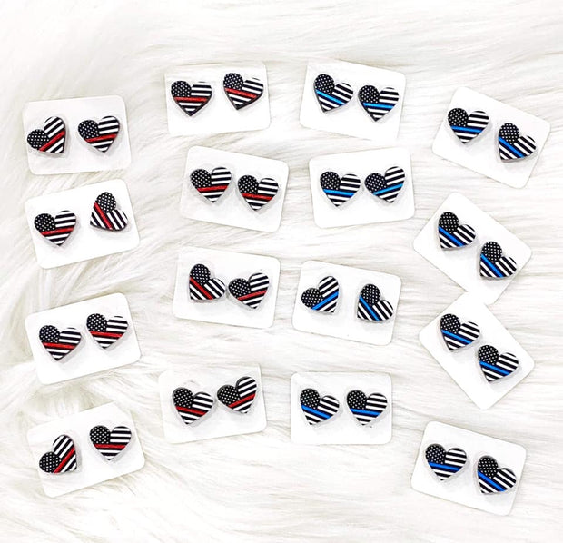 First Responder Heart Stud Earrings