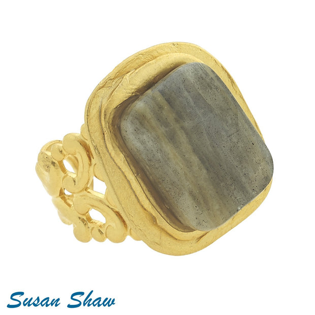 Gold Labradorite Ring 9013