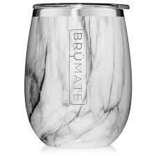 Drinkware - Insulated Wine Glass Carrara Marble
