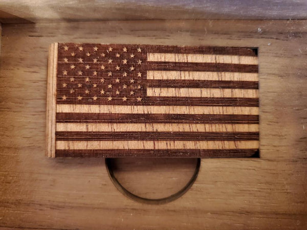 Woodchuck - Wood Money Clip American Flag