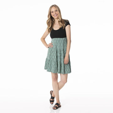 Women's Sundress with Performance Jersey Top - Midnight Feathers