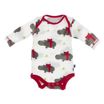 Size Newborn - Onesie (Long Sleeve) - Natural Christmas Hippo