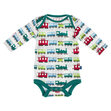 Onesie (Long Sleeve) - Natural Toy Train