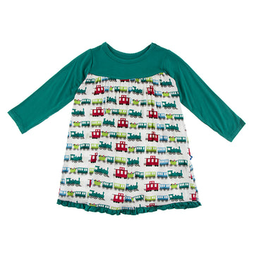 Swing Dress (Long Sleeve)- Toy Train