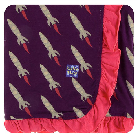 Stroller Blanket with Ruffles - Wine Grapes Rockets