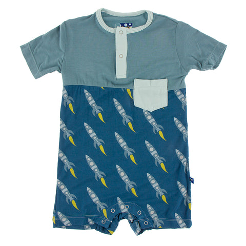 Henley Romper (Chest Pocket)- Twilight Rockets