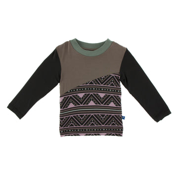 Diagonal Color Block Tee (Long Sleeve) - African Pattern