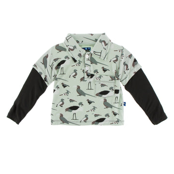 Double Layer Polo Tee (Long Sleeve) - Birds of Kenya