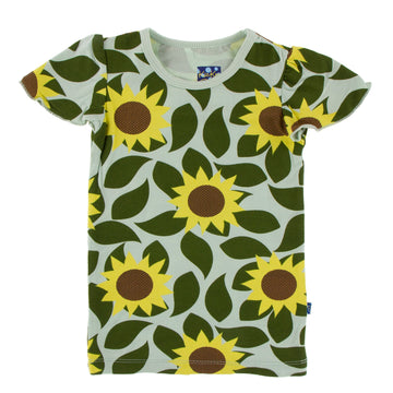 Flutter Sleeve Tee (Short Sleeve) -  Aloe Sunflowers