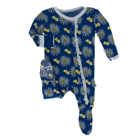 Footie with Muffin Ruffle (Snaps/Zipper) - Navy Cornflower and Bee