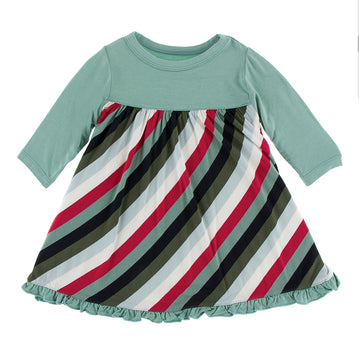 Swing Dress (Long Sleeve) - Christmas Multi Stripe