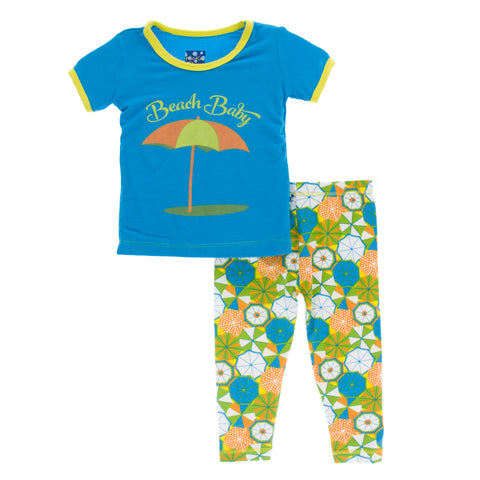 2 Piece Pajama Set (Short Sleeve) - Beach Umbrellas