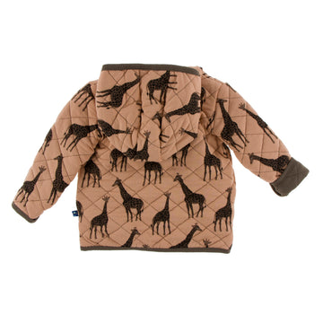 Quilted Jacket with Hood - Suede Giraffe