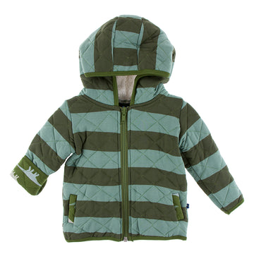 Quilted Jacket with Hood - Fauna Stripe with Moss Sauropods