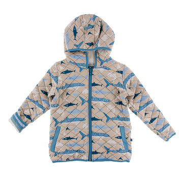 Quilted Jacket with Hood - Burlap Sharks with Oceanography Stripe