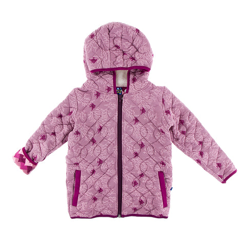 Quilted Jacket with Hood - Pegasus Coral Fans with Melody Waves