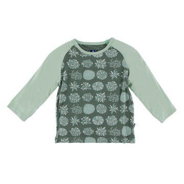 Fitted Raglan Tee (Long Sleeve) - Succulent Plants