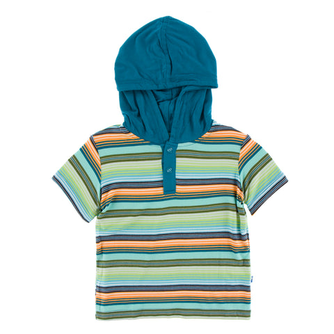 Hoodie Tee (Short Sleeve) - Cancun Glass Stripe