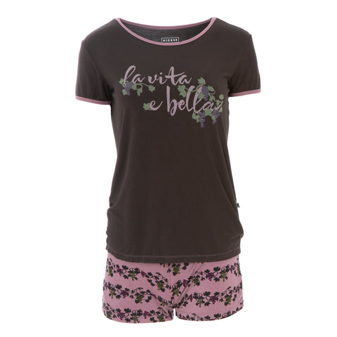 Women's Pj Short Set - Rasin Grape Vines
