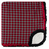 Throw with Sherpa Lining and Double Ruffles - Crimson 2020 Plaid