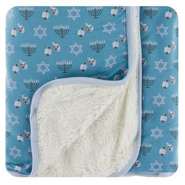 Stroller Blanket with Sherpa Lining - Blue Moon Hanukkah