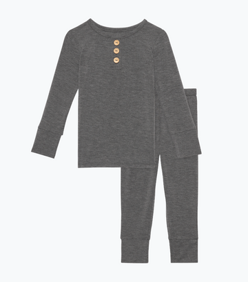2 Piece Pajama (Long Sleeve) - Charcoal Heather Henley