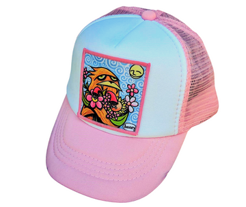 Trucker Hat (Kids) - Sasquatch Hugging Flowers