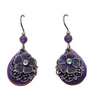 Earrings - Purple Pansy Filigree Layered